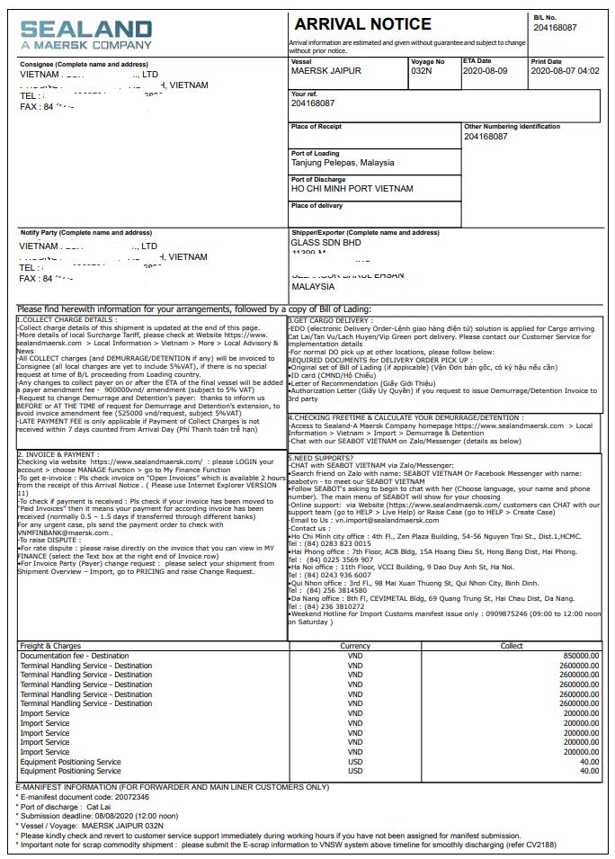 Nội dung trên Thông báo hàng đến - Arrival Notice (A/N)
